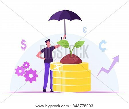 Corporate Responsibility, Social Citizenship Concept. Businessman Holding Umbrella Care Of Green Pla