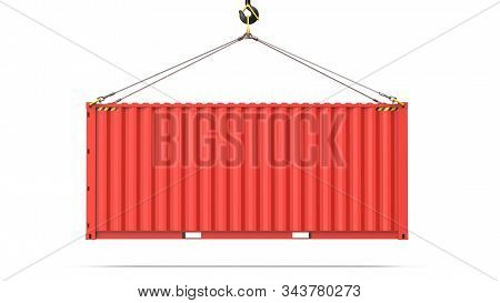 Side View Of A Red Twenty Feet Cargo Container Hanging On A Crane Hook For Logistics And Transportat