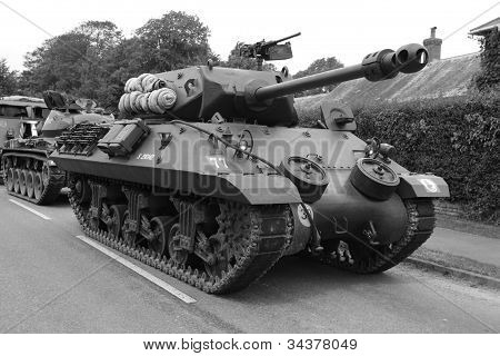 US World War 2 Tank in convoy poster