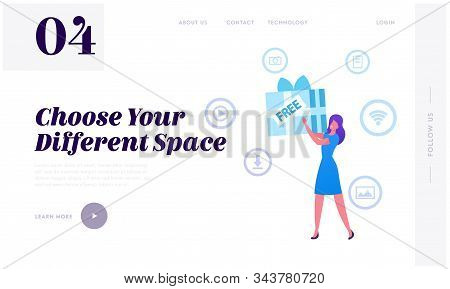 Free Download Internet And Torrent Network Service Website Landing Page. Woman Holding Huge Wrapped