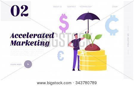 Corporate Responsibility, Social Citizenship Website Landing Page. Businessman Holding Umbrella Care