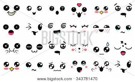 Kawaii Cute Faces. Manga Style Eyes And Mouths. Funny Cartoon Japanese Emoticon In In Different Expr