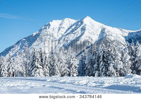 Banff, Canada - December 25, 2019 View Of A Snowy Valley In Kananaskis, Banff, Alberta In Canada