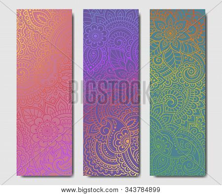 Set Of Design Yoga Mats. Floral Pattern In Oriental Style For Decoration Sport Equipment. Colorful E