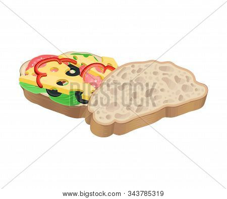 Realistic Oval-shaped Sandwich With Cheese And Sliced Wurst Vector Food Item. Fast Food Concept