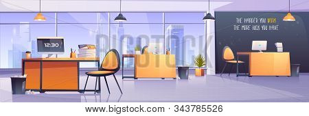 Modern Office Interior. Business Workplace, Open Space Room For Coworking. Vector Cartoon Illustrati