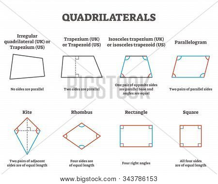 Quadrilaterals Vector Illustration. Labeled Four Sides Geometrical Ornaments With Titles Collection.