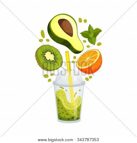 Organic Fruit Smoothie With Fruit Ingredients Around Vector Illustrated Beverage