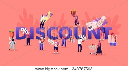 Discount And Sale Concept. Happy People Shopping Recreation. Shopper Characters Buying Things Using