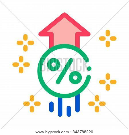 Interest Increase Rise Up Icon Vector. Outline Interest Increase Rise Up Sign. Isolated Contour Symb