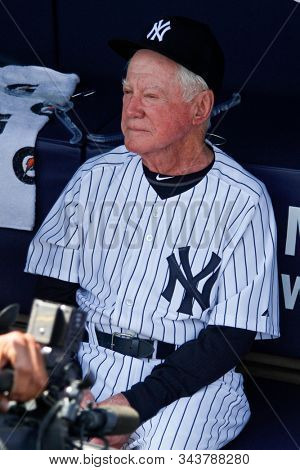 BRONX, NY - JUN 26: Former New York Yankees pitcher Whitey Ford during The New York Yankees 65th Old Timers Day game on June 26, 2011 at Yankee Stadium.