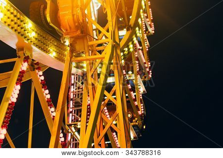 Close Up Of Ferris Wheel At Night Time In Theme Park In Odessa, Ukraine