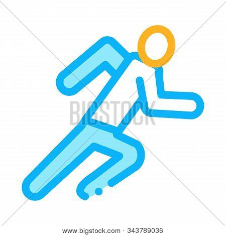 Runner Athlete In Action Icon Vector. Outline Runner Athlete In Action Sign. Isolated Contour Symbol