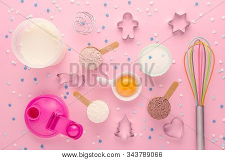 Fitness Diet Concept, Baking Protein, Sugar Substitute Erythritol And Eggs, Dessert Making, Flat Lay