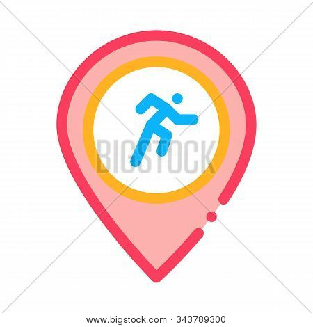 Runner Athlete Geolocation Icon Vector. Outline Runner Athlete Geolocation Sign. Isolated Contour Sy
