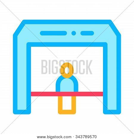 Finish Tape Person Crosses Finish Line Icon Vector. Outline Finish Tape Person Crosses Finish Line S