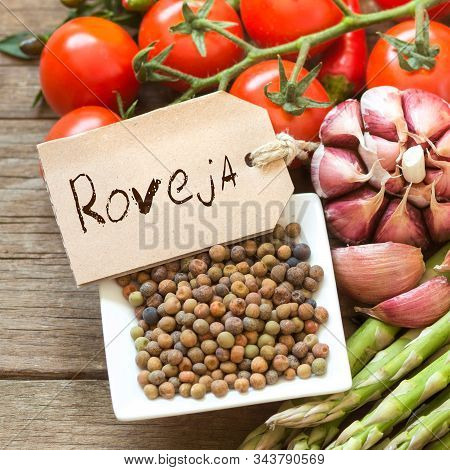 Roveja Beans With Label And Vegetables
