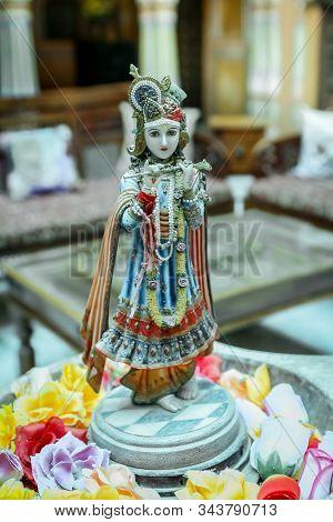 Beautiful Statue Of Krishna In A Hindu Home In Rajasthan India