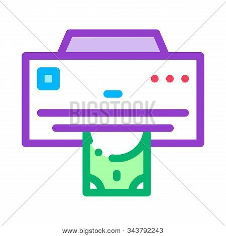Money Issuing Printer Icon Vector. Outline Money Issuing Printer Sign. Isolated Contour Symbol Illus