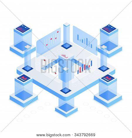 Data Analytics Platform Isometric Vector Illustration. Networking And Communication. Information Sto