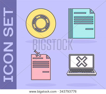 Set Laptop And Cross Mark On Screen, Scotch, Note Paper With Pinned Pushbutton And File Document Ico