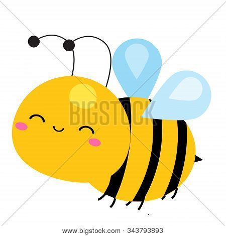 Cartoon Bee. Cute Insect Character. Vector Illustration
