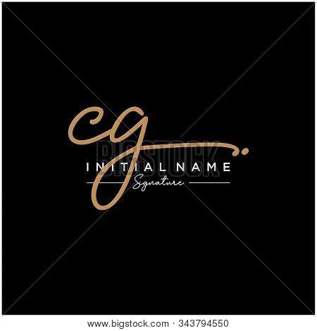 Letter Initial Cg Signature Logo Template Vector