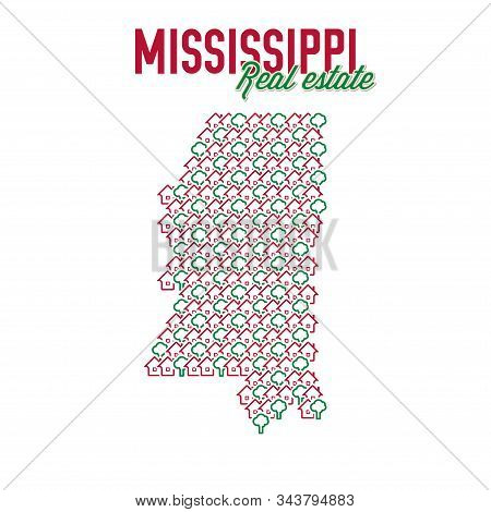 Mississippi Real Estate Properties Map. Text Design. Mississippi Us State Realty Creative Concept. I