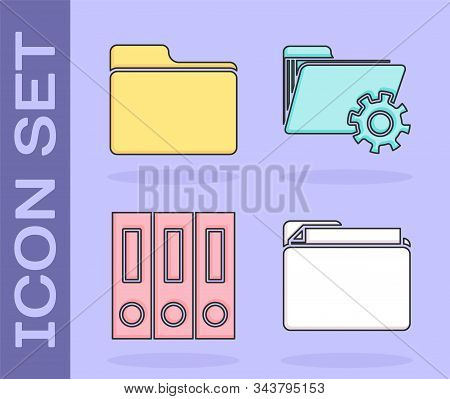 Set Document Folder, Document Folder, Office Folders With Papers And Documents And Folder Settings W