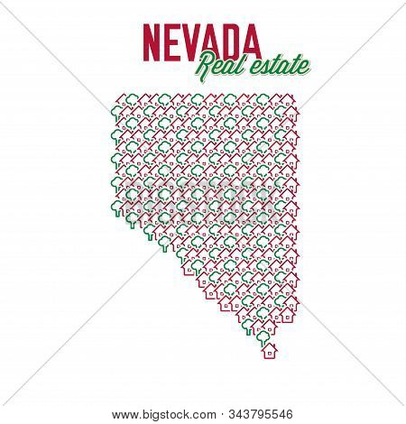 Nevada Real Estate Properties Map. Text Design. Nevada Us State Realty Creative Concept. Icons Of Ho