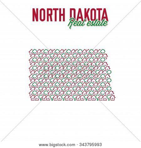 North Dakota Real Estate Properties Map. Text Design. North Dakota Us State Realty Creative Concept.