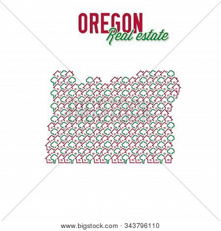 Oregon Real Estate Properties Map. Text Design. Oregon Us State Realty Creative Concept. Icons Of Ho