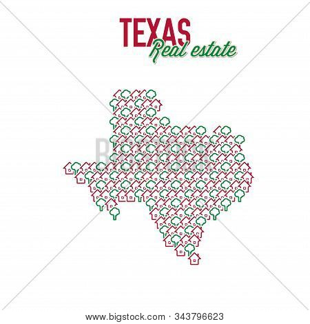 Texas Real Estate Properties Map. Text Design. Texas Us State Realty Creative Concept. Icons Of Hous
