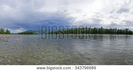 The Sayan Oka River Near The Village Of Khuzhir. East Sayan, Buryatia, Siberia, Russia.