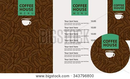 Vector Set Of Design Elements For Coffee House. Menu, Business Cards And Coasters For Drinks With Cu