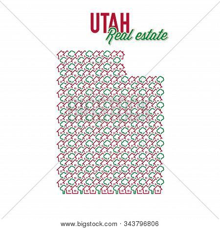 Utah Real Estate Properties Map. Text Design. Utah Us State Realty Creative Concept. Icons Of Houses