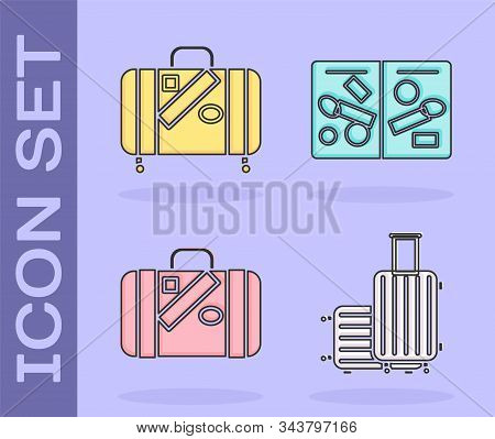 Set Suitcase For Travel, Suitcase For Travel And Stickers, Suitcase For Travel And Stickers And Pass