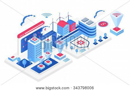 Smart City Isometric Vector Illustration. White Virtual Cityscape. Internet Of Things And It. Futuri