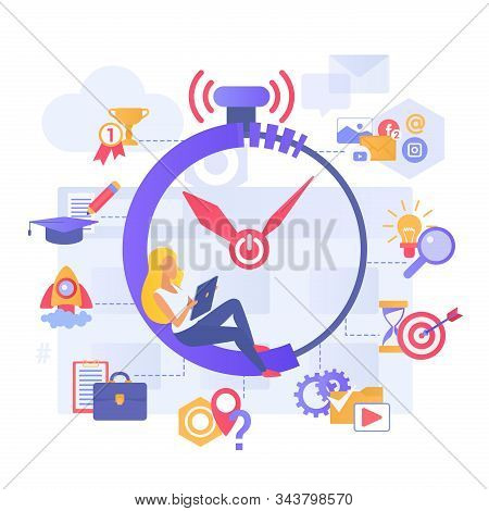 Time Management Flat Vector Illustration. Planning Daily Tasks. Scheduling Monthly Routine. Organizi
