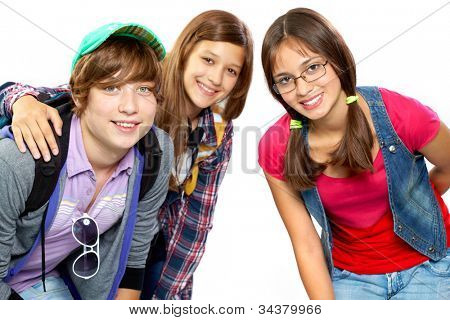 Image of three friends or classmates hugging in front of the cam