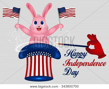 Rabbit Holds American Flag. Star Striped Uncle Sam Hat. American Hat. Magic Trick With Rabbit In Unc