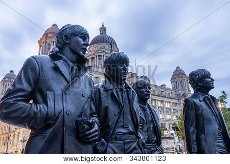 Statue Of The Beatles In Liverpool, England. 22 May 2019.