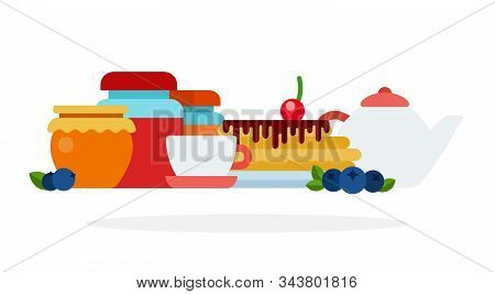 A Set Of Products And Utensils For Breakfast Flat Isolated