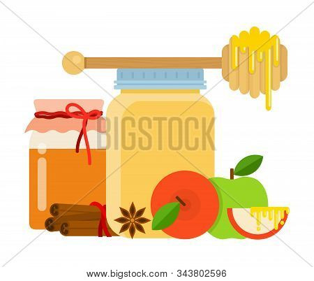 Glass Jars With Honey, Honey Spoon, Cinnamon, Anise And Apples Flat Isolated