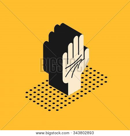 Isometric Palmistry Of The Hand Icon Isolated On Yellow Background. Vector Illustration