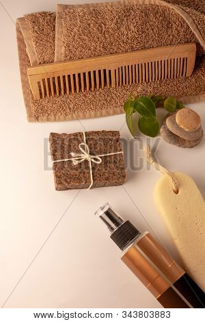 Spa And Wellness Concept, Natural Coffee Scrub Soap, Oil Cosmetics Spray, Peeling Sand Stone, Towel,