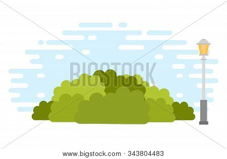 Urban Bushes With Lamppost Vector Icon Flat Isolated Illustration