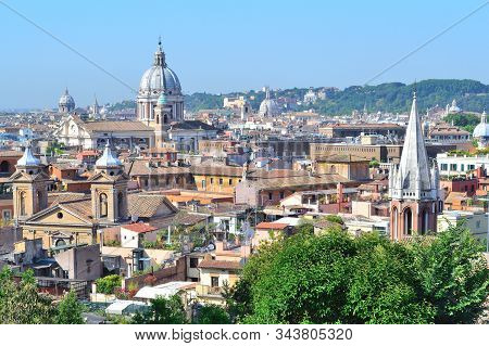 Rome, Italy. Top-view Of The City In A Sunny Summer Day