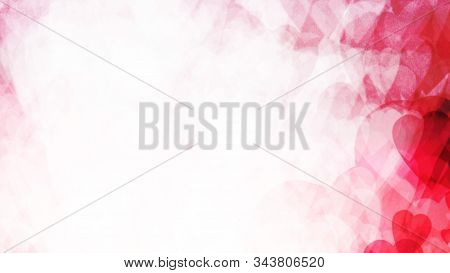 Abstract Background. Pink Hearts Dissolve In A White Background. Valentines Day And Love. Computer T