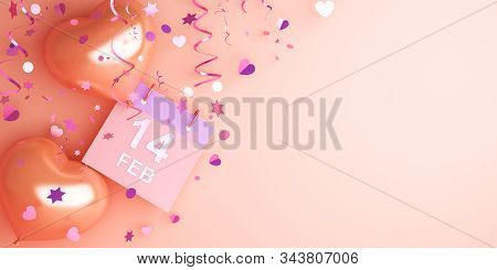 Happy Valentines Day, Valentines Day Background,  Calendar February 14 Date, Heart Shape Balloon, Co